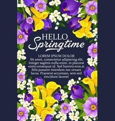 Hello springtime floral flower bunch poster vector
