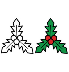 holly berry icon on white background vector image