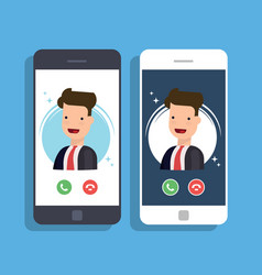 incoming call on mobile phone businessman or vector image