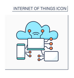 Internet things color icon vector