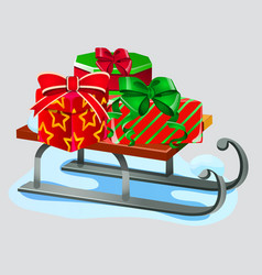 iron sleigh with festive gift boxes isolated vector image