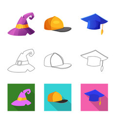 Isolated object headgear and cap symbol vector