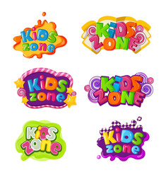 kids zone icons with caramel lettering inscription vector image