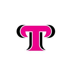 letter t logo magenta black icon design vector image