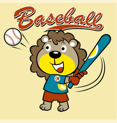 Lion baseball player cartoon vector
