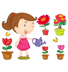 Little girl watering flowers vector