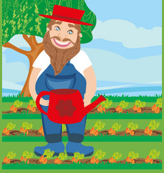 Man watering a carrot in garden vector