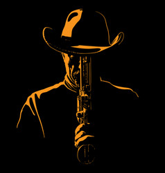 Man with cowboy hat and with a revolver vector