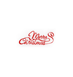 merry christmas red hand letter inscription text vector image