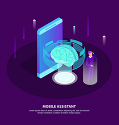 Mobile assistant isometric poster vector