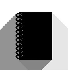 Notebook simple sign black icon with two vector
