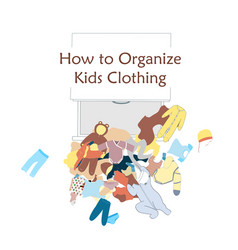 Open dresser drawer and messy kids clothing on vector