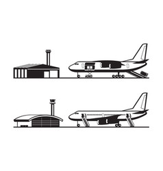 passenger and cargo airplane at airport vector image