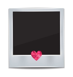 Photo frame with heart on white background vector image