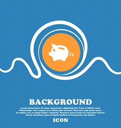 Piggy bank icon sign Blue and white abstract vector