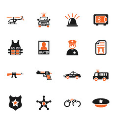 Police icon set vector