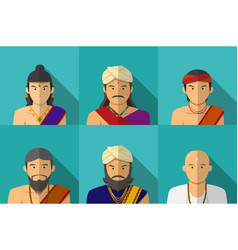 Portrait of indian people in traditional costume vector