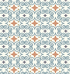 Retro Swirl and Flower Pattern on Pastel Color vector image