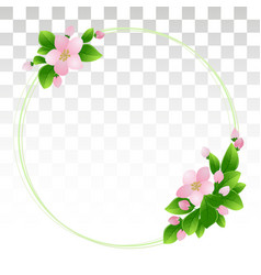 Round frame with cherry blossoms spring season vector