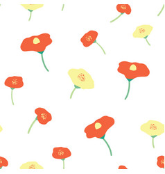 seamless background poppy flower red yellow vector image