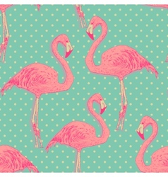 seamless flamingo bird pattern hand drawn vector image