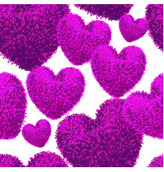 seamless pattern with fluffy soft heart vector image