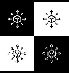 set distribution icons on black and white vector image
