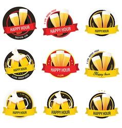 Set happy hour restaurant bar labels vector