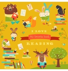 Set of cartoon animals reading books vector image vector image