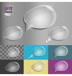 Set of glass speech bubble icons with soft shadow vector image