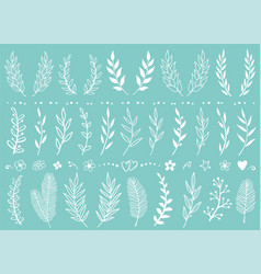 set of white hand drawn tree branches and flowers vector image