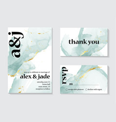 set wedding ink liquid card with typography vector image
