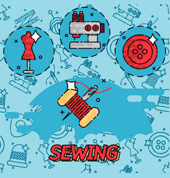Sewing flat concept icons vector