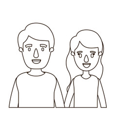 Sketch contour caricature half body couple woman vector