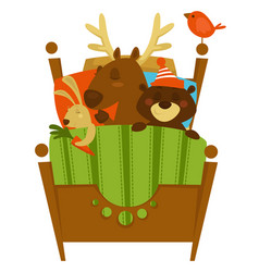sleeping woodland animals covered with blanket vector image