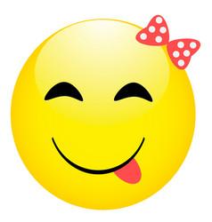 smiling emoticon cute eyes happy girl face vector image