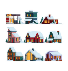 snow cap house winter christmas architecture vector image