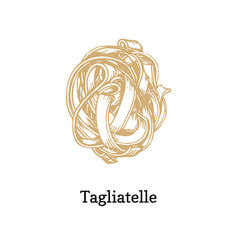 tagliatelle graphic in hand vector image