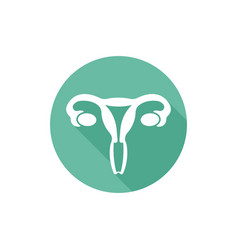 uterus round flat icon with long shadow vector image