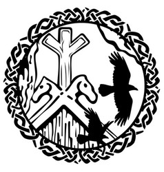 Viking design flying black ravens vector