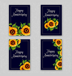 Watercolor floral anniversary cards collection vector