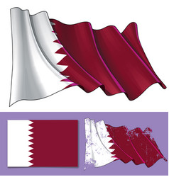 Waving flag of qatar vector