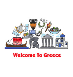 welcome to greece promo banner with historic vector image