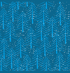 winter forest seamless pattern christmas trees vector image vector image