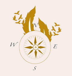 with compass and feathers and golden vector image