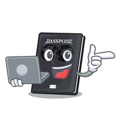 With laptop black passport in a cartoon bag vector