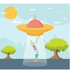 Cartoon ufo people abduction vector