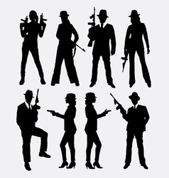 Gangster with gun weapon silhouette vector image vector image