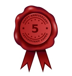 Happy Five Year Anniversary Wax Seal vector image