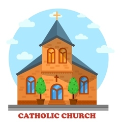 Religion catholic or christian church facade vector image